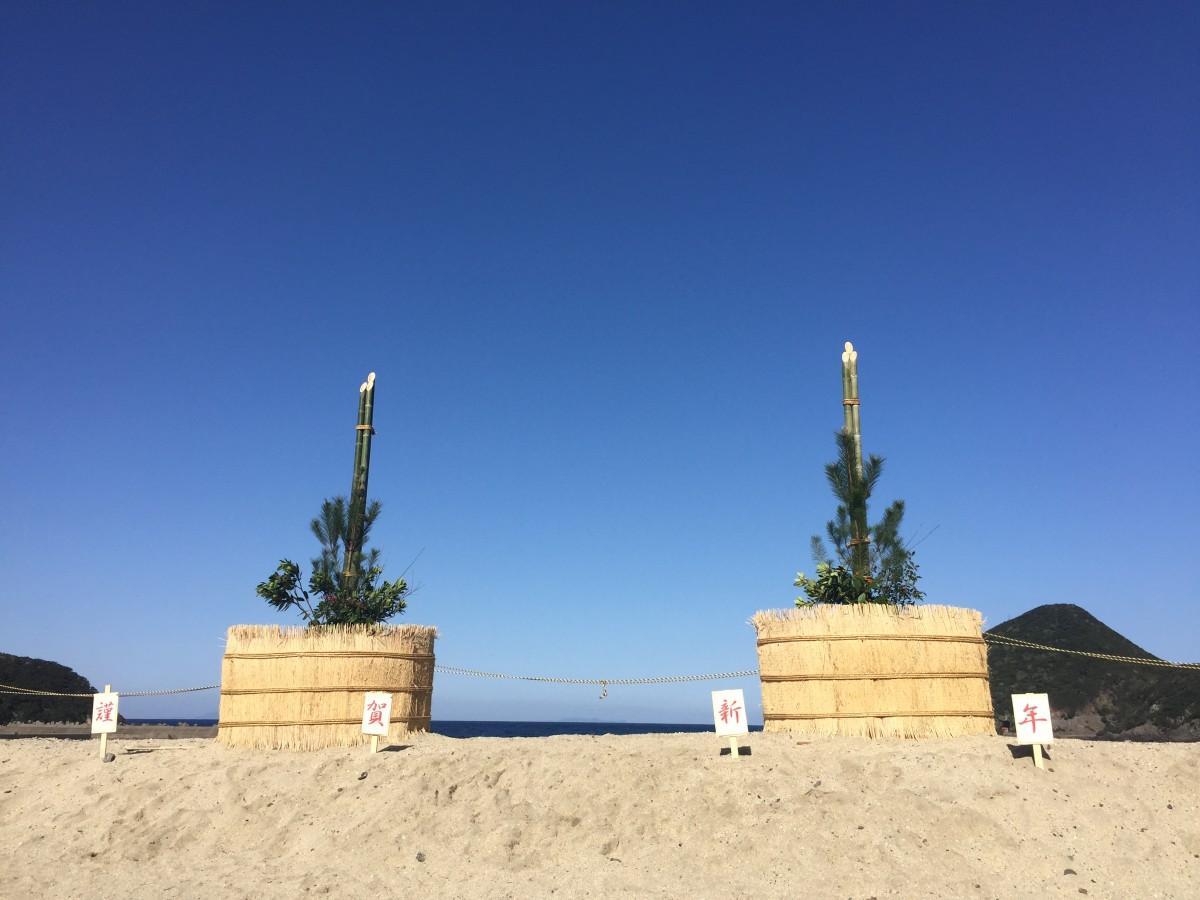 晴れた日には薩摩半島の開聞岳を望む一湊海岸