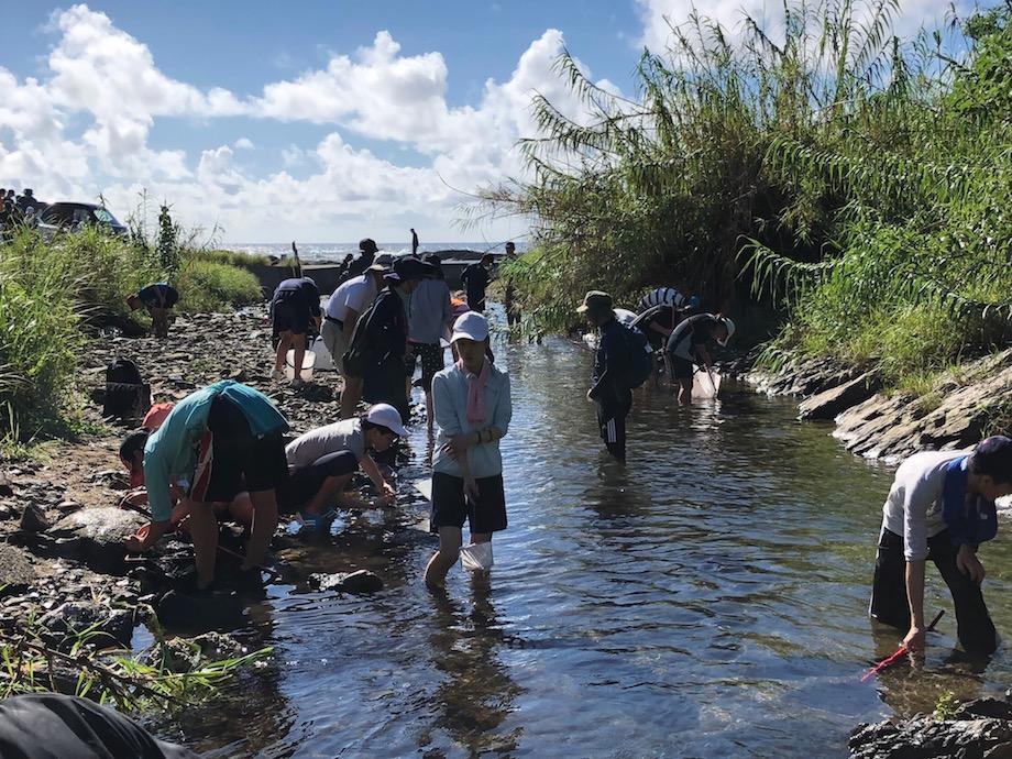 イテゴ川で水生生物の採集