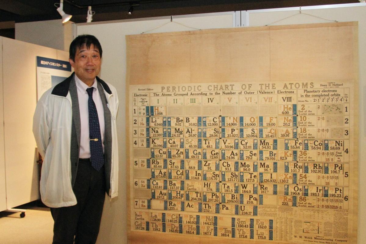 山形大学の栗山恭直教授と1925(大正14)年製の周期表