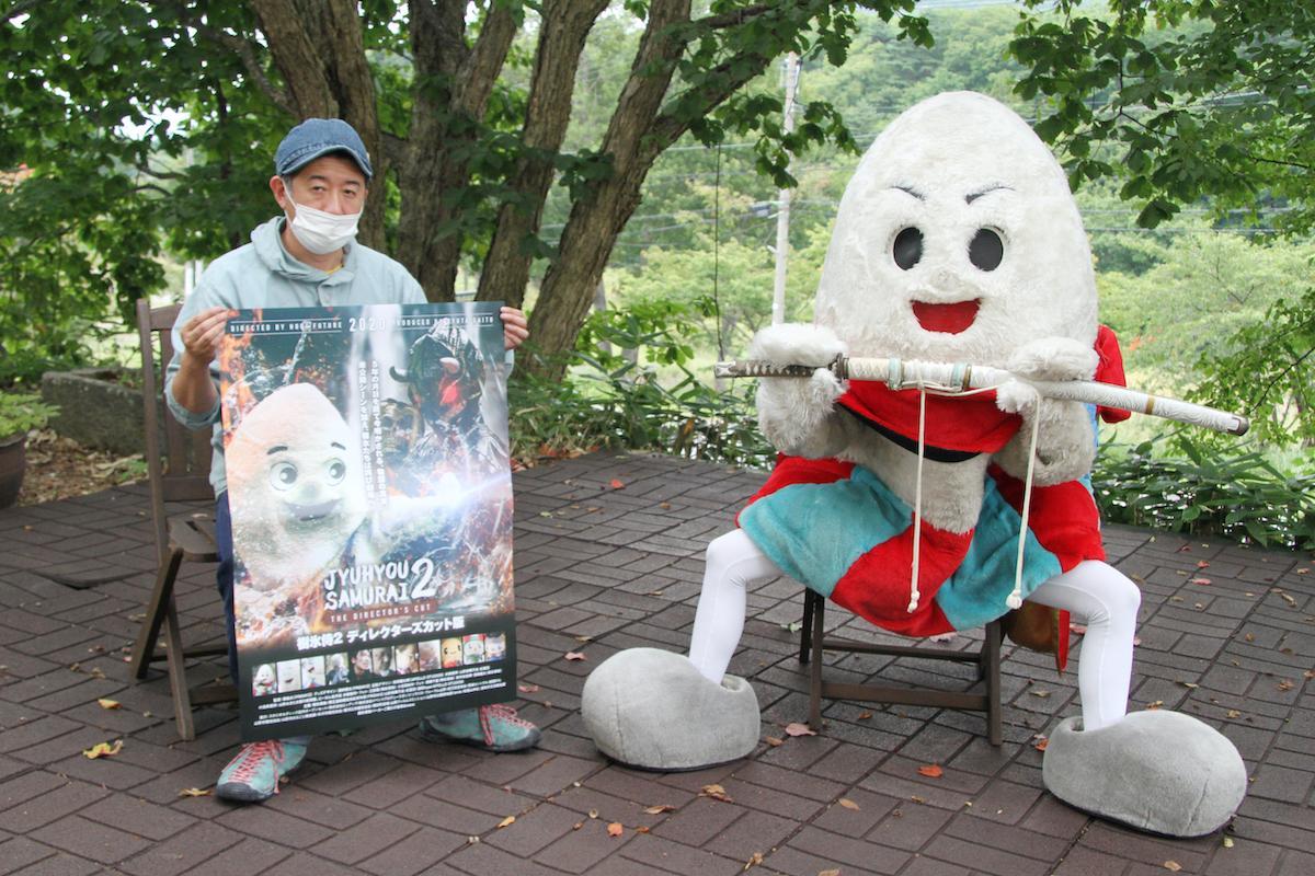 プロデューサーの齋藤龍太さんと「じゅっきーくん」
