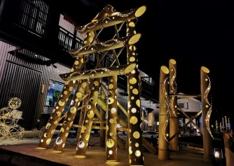 山形・「東北絆まつり」で竹あかりイベント 学生らがプロデュース