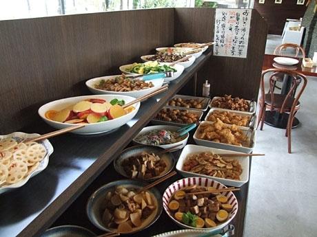 和食や野菜料理を中心にさまざまな総菜が並ぶ