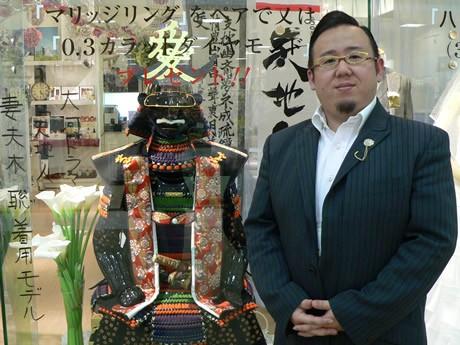 直江兼続の甲冑とシンデレラウエディングの財満将広社長