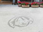 宇部ときわ公園のウオーターアートが話題に-カフェ店員、人気キャラなど描く