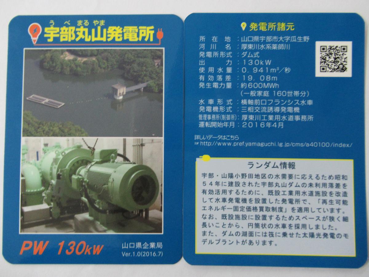 山口県内限定で配布されている「発電所カード」
