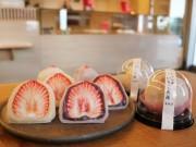 宇部の和菓子店が恒例「じゃんぼいちご大福」 今年は超ジャンボ「極」も