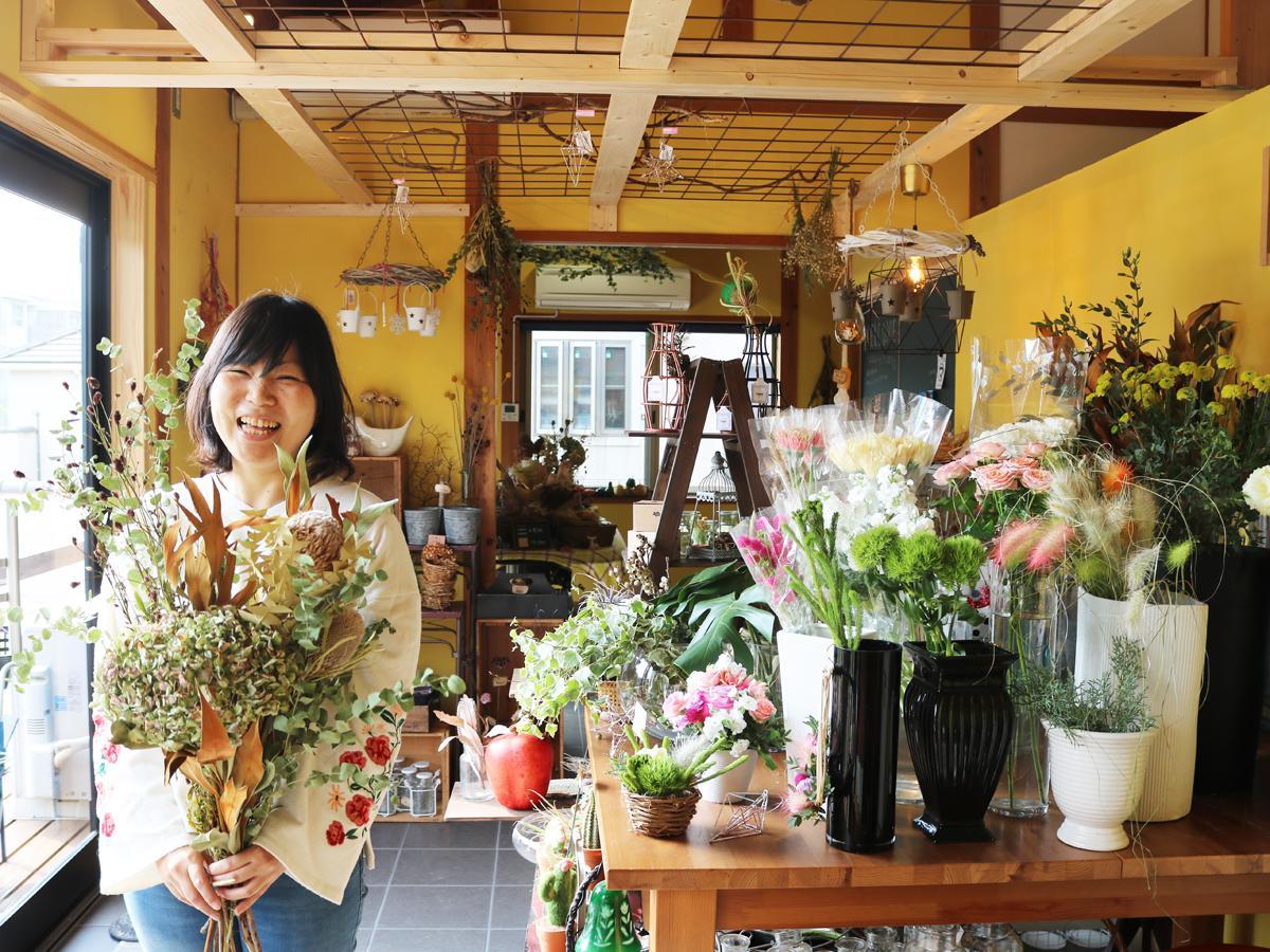 「私のアレンジが『かわいい』と言われたときが一番うれしい」と店主の松岡さん