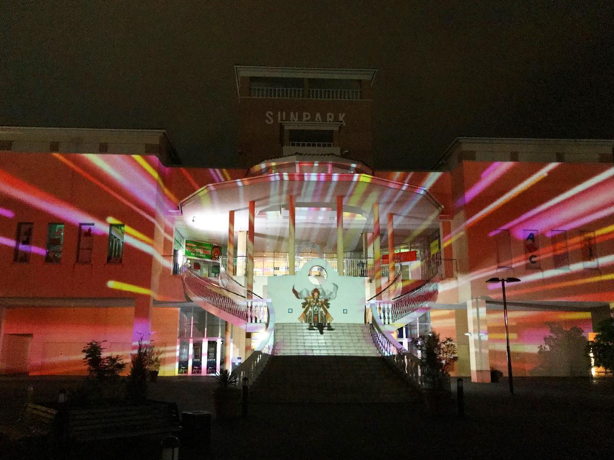 9月12日に行った「プロジェクションマッピング」投影リハーサルの様子