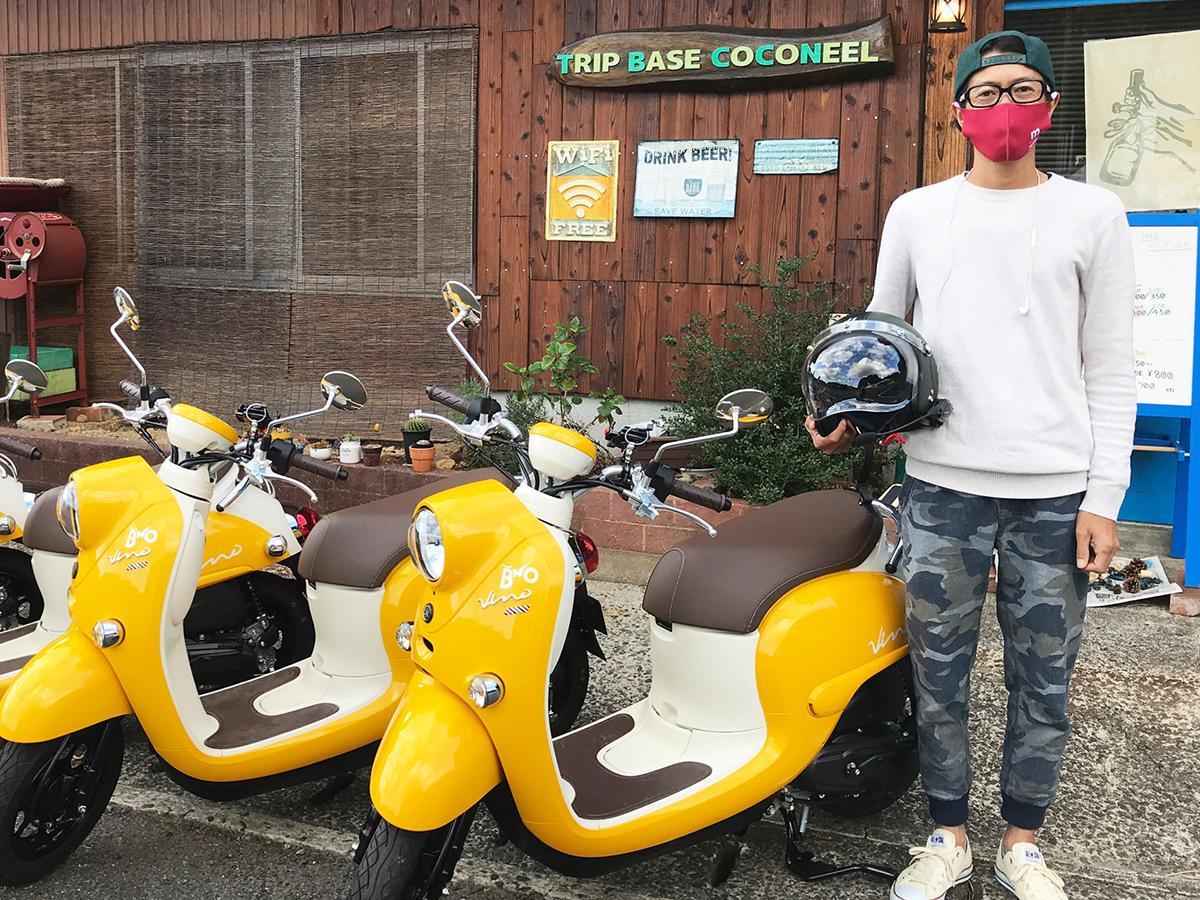 「原付に乗って秋吉台の景色と風を感じてほしい」と話す松田さん