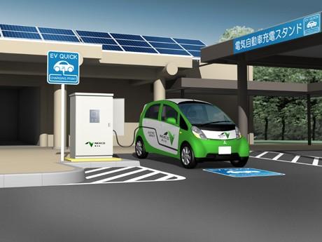 EV車両用の急速充電器を設置したパーキングエリア(イメージ図)