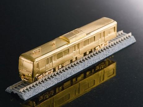 純金製で150分の1スケールの京急車両1000 形モデル