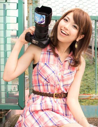 京急鉄道フェアには、人気鉄道アイドル・森由梨香さんの写真講座も