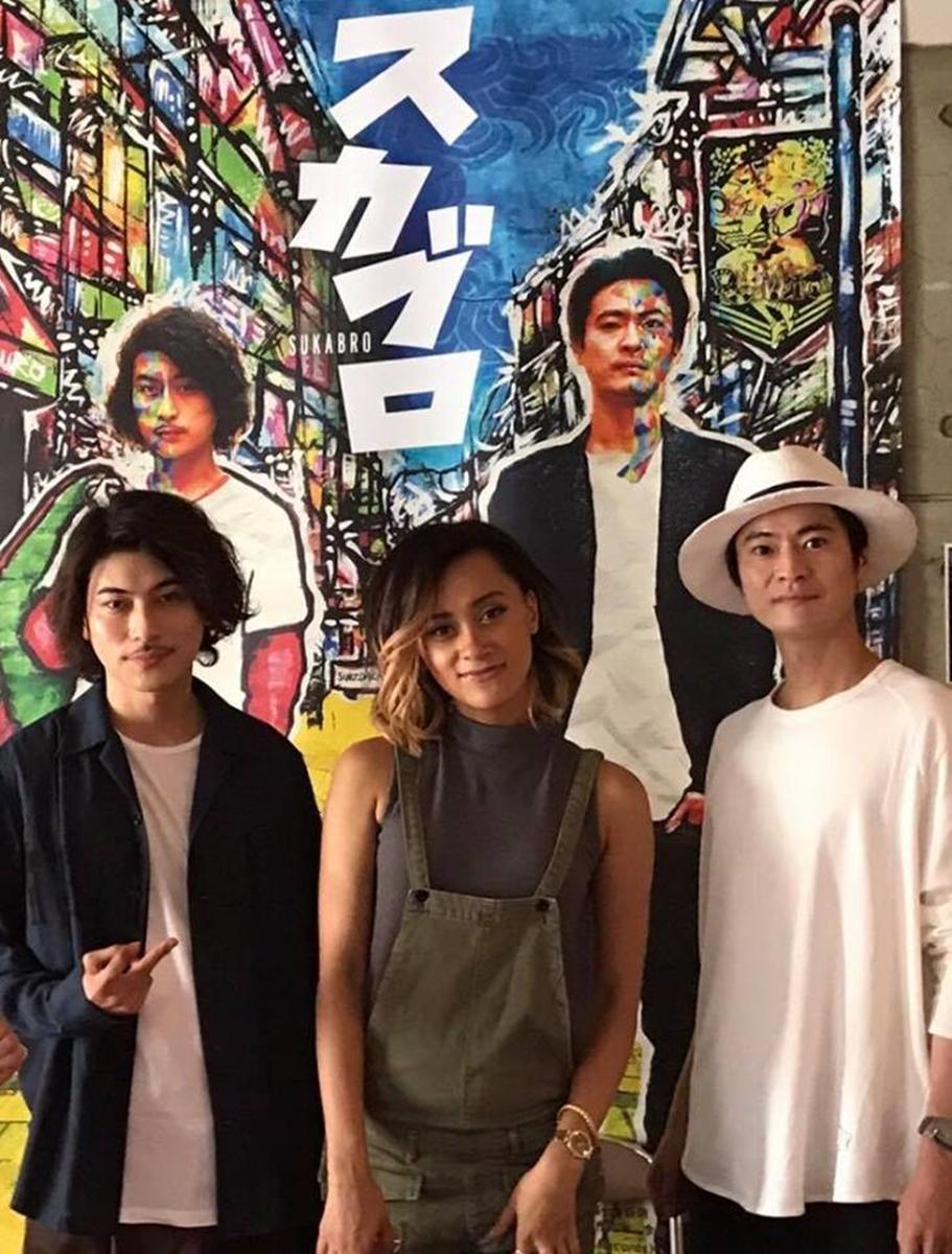 主演俳優の窪塚俊介さん(写真右)・AISHAさん、RUEEDさん