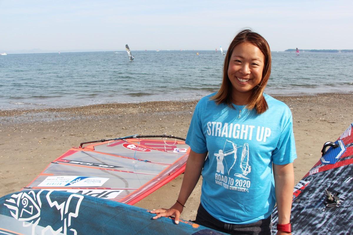横須賀の海から世界に挑戦する、25歳の山辺美希選手(W杯会場の津久井浜海岸で)