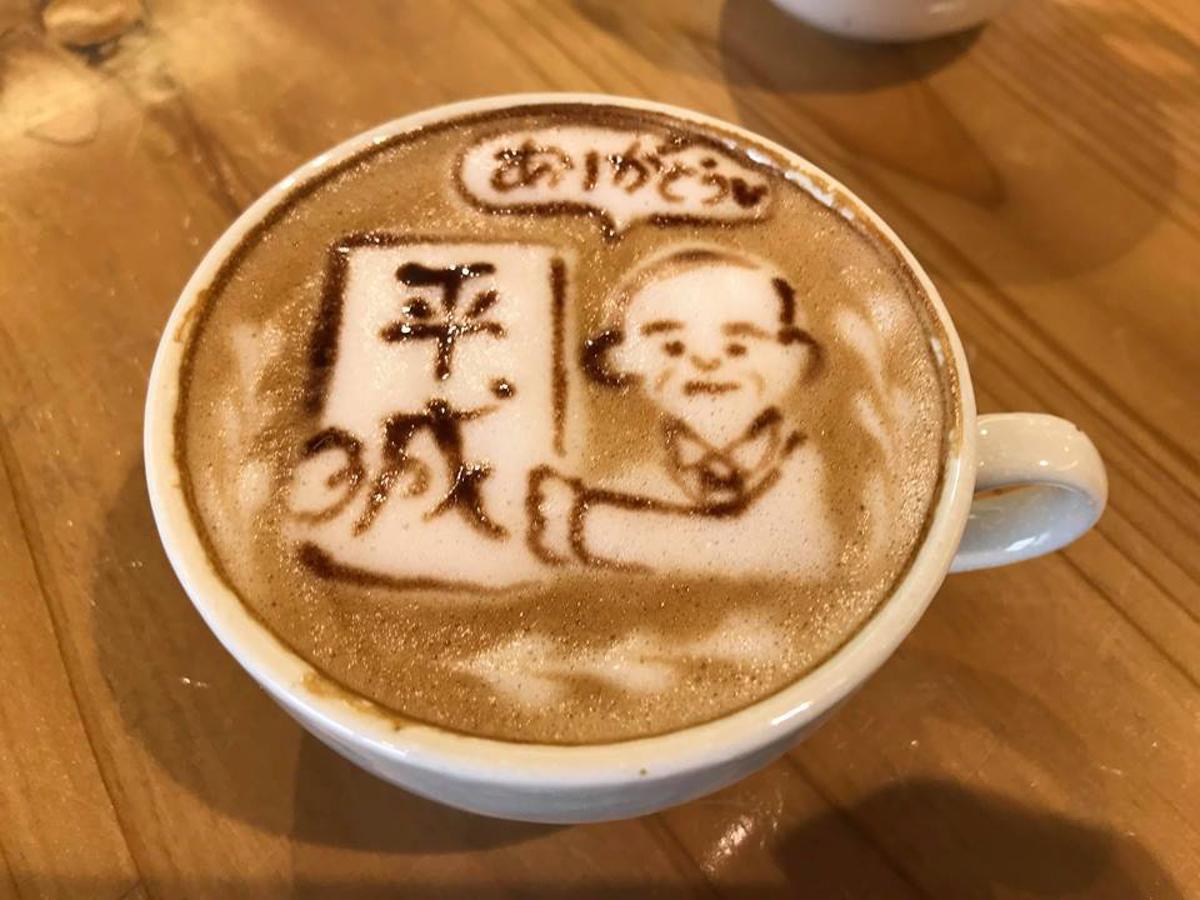 羽後町の道の駅内のカフェ「Bon Cafe」のラテアート