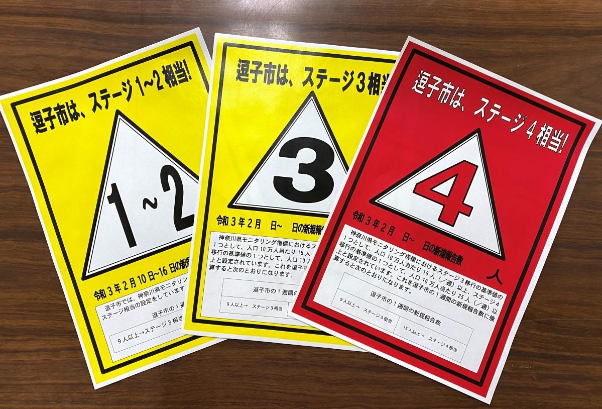 市内の広報掲示板に掲示する感染ステージを示すシート。2月18日現在はステージ1~2相当