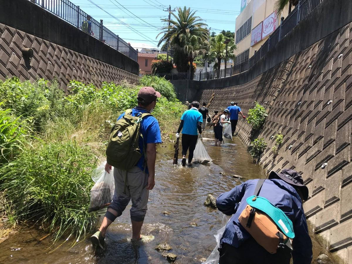 川に下りてごみを回収する参加者(提供=田中美乃里さん)